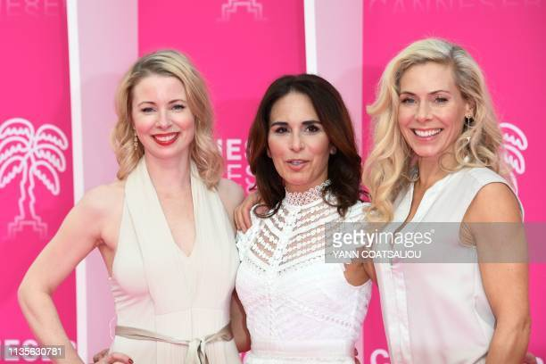 Swedish actresses of the TV show Honour Julia Dufvenius Alexandra Rapaport and Eva Rose pose during the 2019 Cannes International Series festival in...