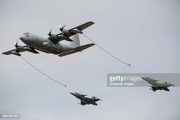 A Swedish Air Force C-130E Hercules tanker aircraft with two Czech Air Force Gripens in tow.