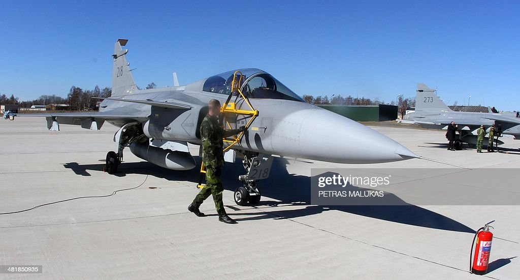 A Swedish Air Force JAS-39 Gripen fighter prepares for take