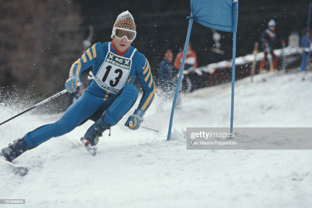 Swedish alpine ski racer Ingemar Stenmark competes to finish in first place to win the grand slalom event, part of the 1979 Alpine Skiing World Cup, at Steinach in Austria on 23rd January 1979.
