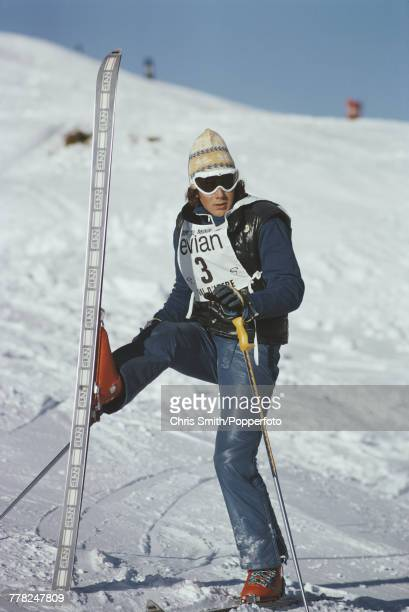 Swedish alpine ski racer Ingemar Stenmark pictured in action during competition in a giant slalom race at Vald'Isere in France in December 1975...
