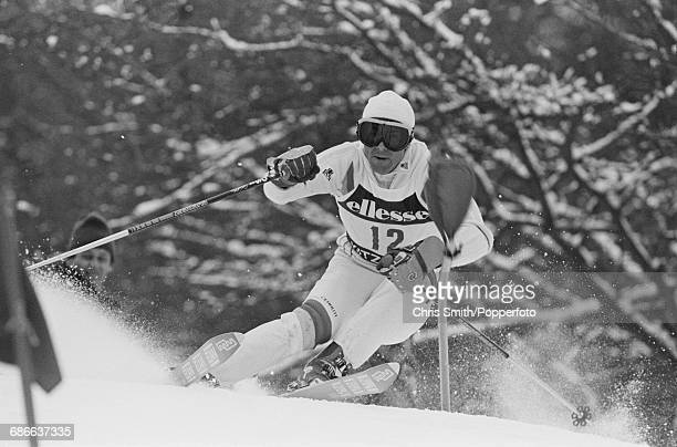 Swedish alpine skier Ingemar Stenmark pictured in action during competition in the Men's slalom event during the 1984 Alpine Skiing World Cup at...