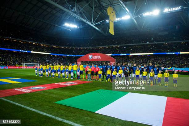 Swedish and Italian teams lined up during the FIFA 2018 World Cup Qualifier PlayOff First Leg between Sweden and Italy at Friends arena on November...