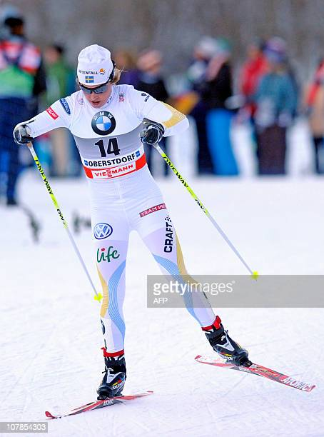 Swedish Anna Haag competes in the women's Tour de Ski 10 kilometer pursuit race on January 3 2011 in Oberstdorf sourthern Germany Anna Haag won the...