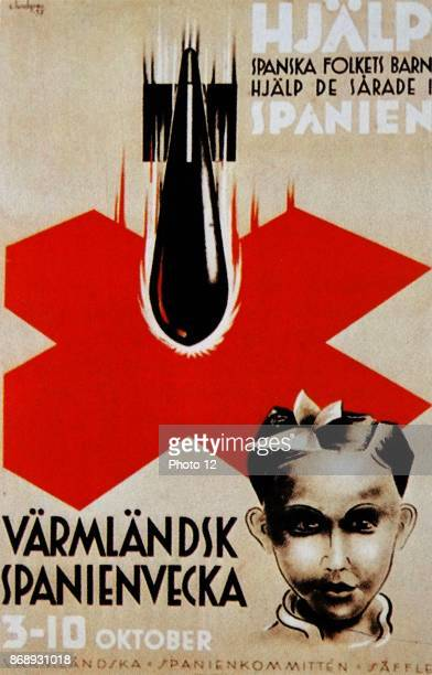 Swedish antifascist propaganda poster expressing horror at nationalist bombing raids on civilians during the Spanish Civil War