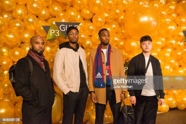 Swedish artists Sammy and Johnny Bennett arrive with two friends at the P3 Guld Gala Swedish Radio's celebration of the best in Swedish Music on...