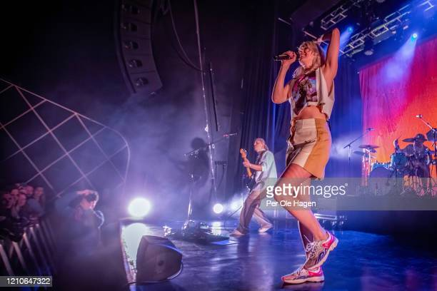 Swedish artists Sanna Erixson and Veronica Maggio perform on stage at Sentrum Scene on March 05, 2020 in Oslo, Norway.