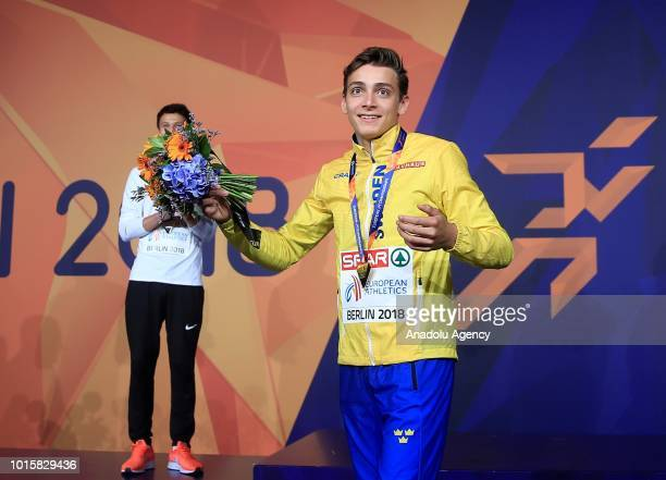 Swedish athlete Armand Duplantis celebrates after winning the golden medal in pole vault during the 2018 European Athletics Championships in Berlin...