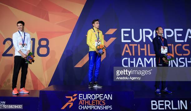 Swedish athlete Armand Duplantis Russian athlete Timur Murgunov and French athlete Renaud Lavillenie celebrate after winning respectively the golden...