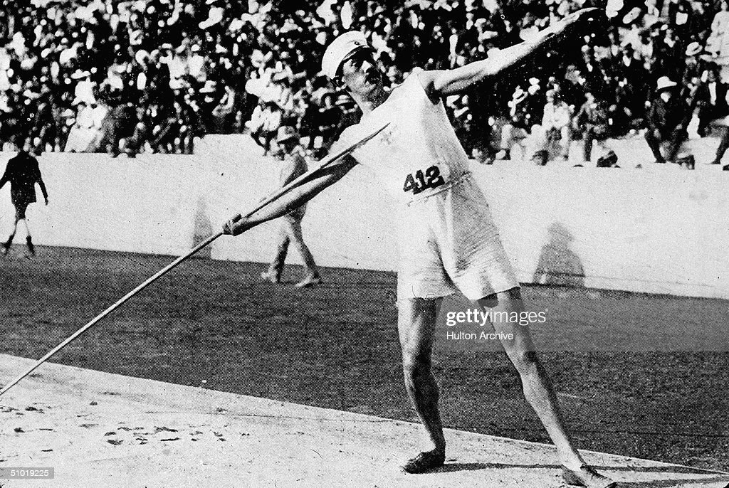 Swedish athlete Eric Lemming aim his javelin during the 1906 Intercalated Olympic Games in Athens, Greece, April 1906. Though Lemimng won a gold medal with his world record throw of 176ft 10in, the 1906 games are considered unofficial games and are not included in Olympics history. Lemming, however, went on to win gold medals at both the next two Olympics as well. (Photo by Hulton Archive/Getty Images) 176-10 WR