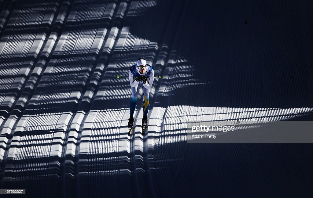 A Swedish athlete trains during cross country training ahead of the Sochi 2014 Winter Olympics at the Laura Cross-Country Ski and Biathlon Center on February 7, 2014 in Sochi, Russia.