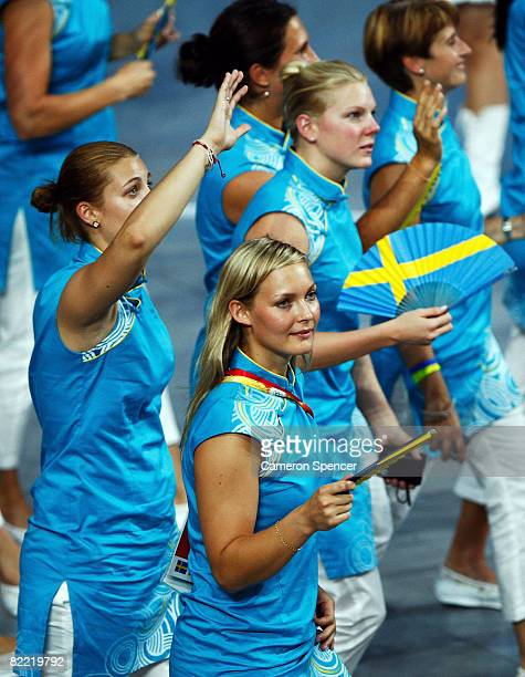 Swedish athletes enter the stadium during the Opening Ceremony for the 2008 Beijing Summer Olympics at the National Stadium on August 8 2008 in...