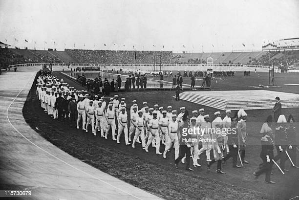 Swedish athletes in a marchpast during the 1908 Summer Olympics in London White City Stadium