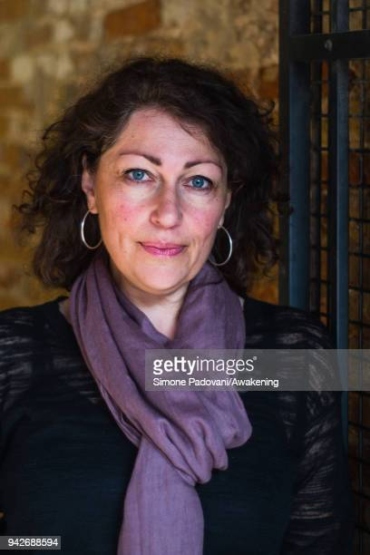 Swedish author and journalist Elisabeth Åsbrink attends a photocall during Incroci di Civiltà International Literature Festival on April 6 2018 in...