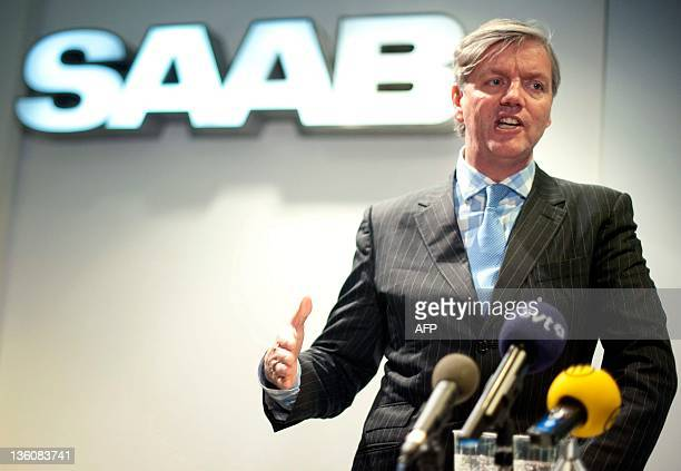 Swedish Automobile's chief executive Victor Muller gives a news conference in Trollhattan southwestern Sweden on December 19 2011 to announce that...