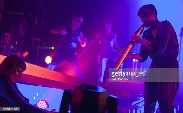 Swedish band The Knife performs live during a concert at the Arena on November 3 2014 in Berlin Germany