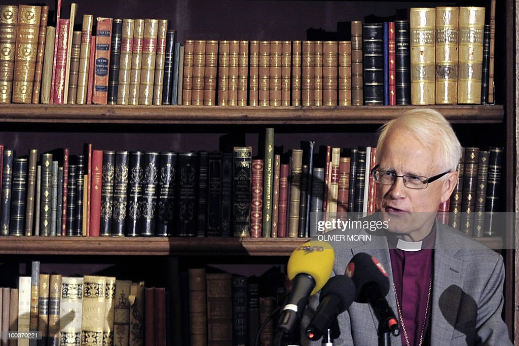 Swedish Bishop Emeritus Lars-Goeran Loennemark delivers a speech during a press briefing regarding the Royal wedding of the Swedish crown princess Victoria and her fiance Daniel Westling at the Bernadote library of the Royal Castle in Stockholm on May 24, 2010. Many tourists paid a visit to the Swedish capital less than a month before Crown Princess Victoria 's wedding, the 32-year-old eldest daughter of King Carl XVI Gustaf.