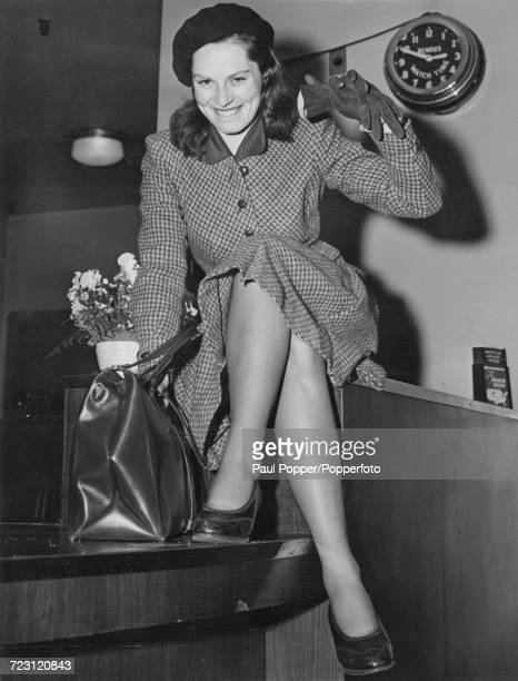 Swedish born American actress Viveca Lindfors pictured at LaGuardia airfield in New York on 8th April 1946 Lindfors has recently been signed up by...