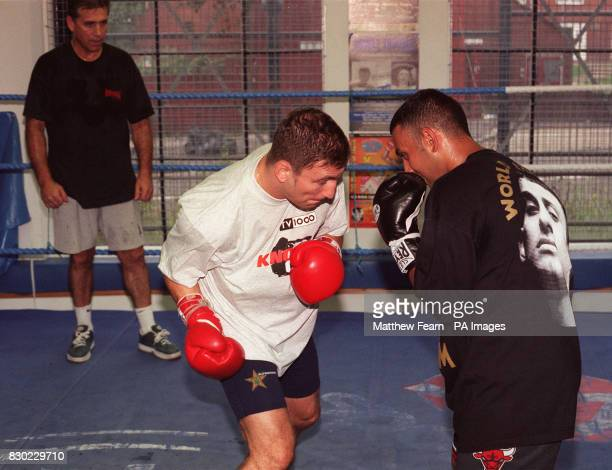 Swedish boxer Paolo Roberto during a sparring session with Prince Naseem Hamed under the watchful eye of Roberto's trainer Jimmy Tibbs at the Lennox...