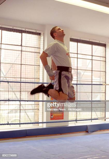 Swedish boxer Paolo Roberto warms up in the ring at the Lennox Lewis Centre in London before a sparring session with Prince Naseem Hamed