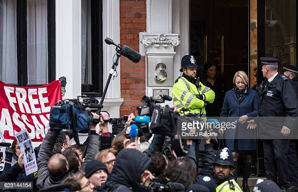 Swedish chief prosecutor Ingrid Isgren leaves the Embassy of Ecuador after questioning Wikileaks founder Julian Assange on November 14, 2016 in...