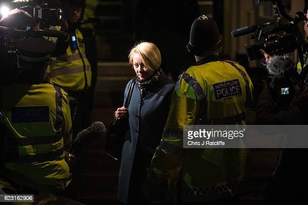 Swedish chief prosecutor Ingrid Isgren leaves the Embassy of Ecuador after questioning Wikileaks founder Julian Assange on November 14 2016 in London...