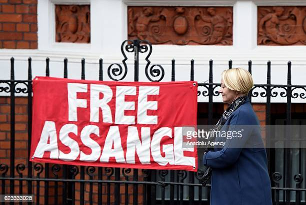 Swedish chief prosecutor Ingrid Isgren leaves the Embassy of Ecuador in London, England on November 14, 2016. Swedish prosecutors questioned...