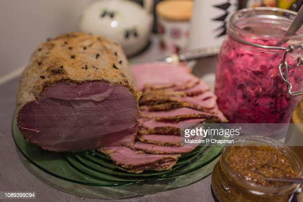 swedish christmas ham, julskinka, on julbord, stockholm, sweden - sweden stock pictures, royalty-free photos & images
