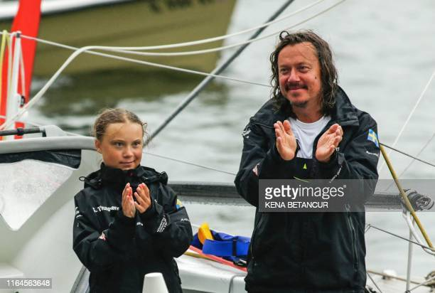 Swedish climate activist Greta Thunberg and father Svante Thunberg arrive in the US after a 15day journey crossing the Atlantic in the Malizia II a...