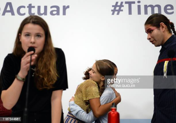Swedish climate activist Greta Thunberg and German activist Luisa Neubauer take part in a press conference with other young activists to discuss the...