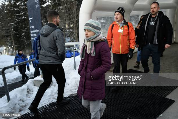 Swedish climate activist Greta Thunberg arrives at the Congres center during the World Economic Forum annual meeting in Davos on January 21 2020