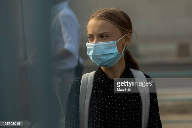 Swedish climate activist Greta Thunberg arrives for the meeting with German Chancellor Angela Merkel on August 20, 2020 in Berlin, Germany. Two years...