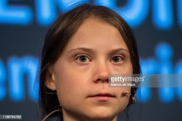 Swedish climate activist Greta Thunberg attends a press conference at 'La Casa Encendida'. Greta arrived to Madrid for the COP25 Climate Change...