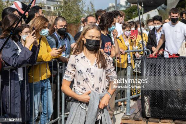 Swedish climate activist Greta Thunberg attends a press conference on September 30, 2021 in Milan, Italy. Greta Thunberg and Martina Comparelli of...