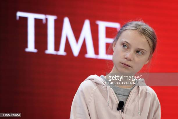 Swedish climate activist Greta Thunberg attends a session at the Congres center during the World Economic Forum annual meeting in Davos, on January...