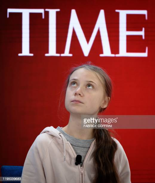 Swedish climate activist Greta Thunberg attends a session at the Congres center during the World Economic Forum annual meeting in Davos on January 21...
