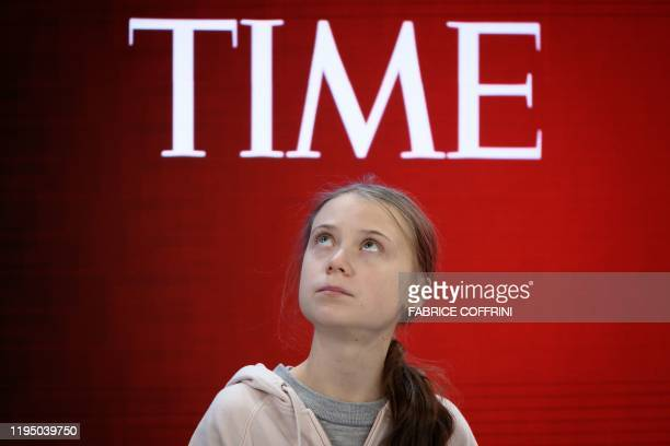TOPSHOT Swedish climate activist Greta Thunberg attends a session at the Congres center during the World Economic Forum annual meeting in Davos on...