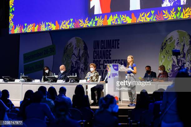 Swedish climate activist Greta Thunberg attends the Youth4Climate Pre-COP Event at MiCo Convention Centre on September 28, 2021 in Milan, Italy.