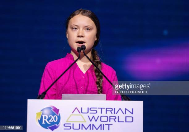 Swedish climate activist Greta Thunberg gives a speech during the opening ceremony of the R20 Regions of Climate Action Austrian World Summit in...
