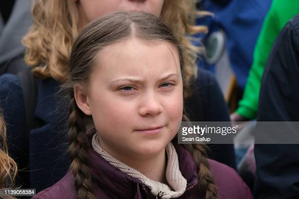 Swedish climate activist Greta Thunberg particpates in a Fridays for Future protest march on March 29 2019 in Berlin Germany Thousands of pupils and...