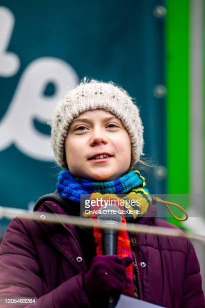 Swedish climate activist Greta Thunberg pictured during a demonstration of European youths to demand political action concerning climate change...