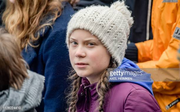 Swedish climate activist Greta Thunberg poses during a demonstration of students calling for climate protection on March 1 2019 in front of the...