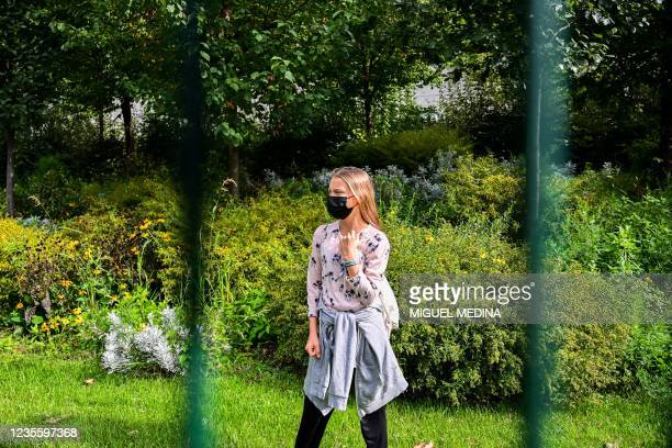 Swedish climate activist Greta Thunberg prepares to address the media in a park outside the Milan Conference Centre, MiCO, on September 30, 2021 on...