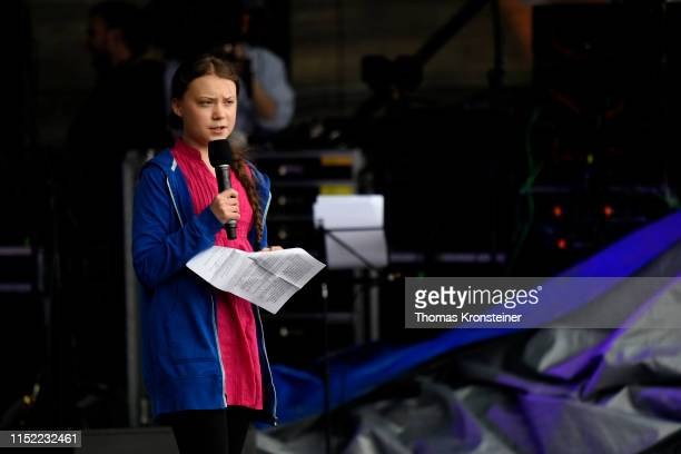 Swedish climate activist Greta Thunberg speaks at the Climate Kirtag portion of the R20 Austrian World Summit on May 28 2019 in Vienna Austria The...