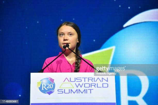 Swedish climate activist Greta Thunberg speaks at the opening ceremony of the R20 Regions of Climate Action Austrian World Summit in Vienna Austria...