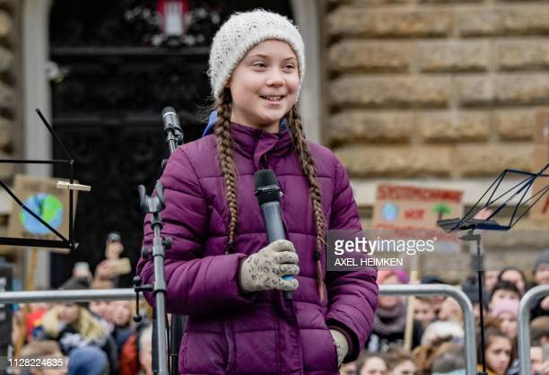 Swedish climate activist Greta Thunberg speaks on stage during a demonstration of students calling for climate protection on March 1 2019 in front of...