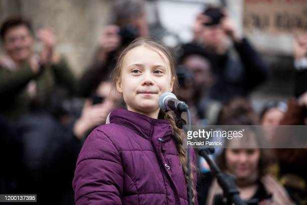 Swedish climate activist Greta Thunberg speaks to participants at a climate change protest on January 17, 2020 in Lausanne, Switzerland. The protest...