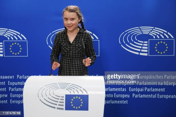Swedish climate activist Greta Thunberg takes part in a press conference during a plenary session at the European Parliament on April 16 2019 in...