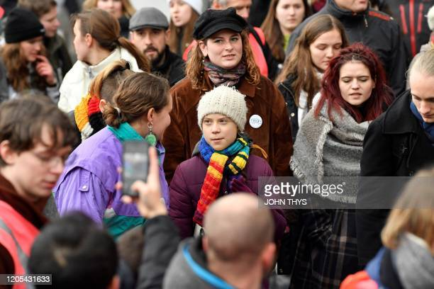 Swedish climate activist Greta Thunberg takes part in a Youth Strike 4 Climate protest march on March 6 2020 in Brussels