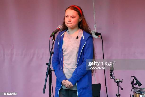 Swedish climate change activist Greta Thunberg speaks at the Extinction Rebellion group's environmental protest camp at Marble Arch in London on...